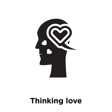 Thinking love icon vector isolated on white background, logo concept of Thinking love sign on transparent background, filled black symbol