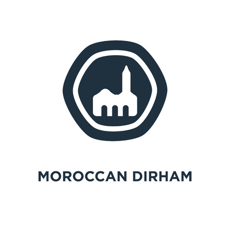 Moroccan Dirham icon. Black filled vector illustration. Moroccan Dirham symbol on white background. Can be used in web and mobile. 向量圖像