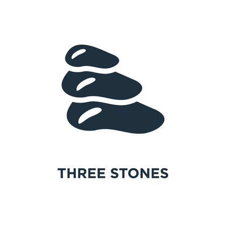 Three Stones icon. Black filled vector illustration. Three Stones symbol on white background. Can be used in web and mobile.