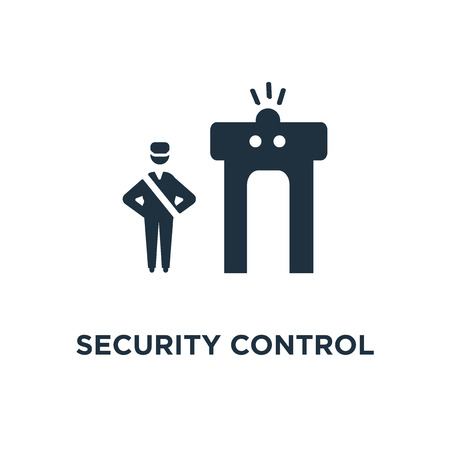 Security Control icon. Black filled vector illustration. Security Control symbol on white background. Can be used in web and mobile. Ilustrace