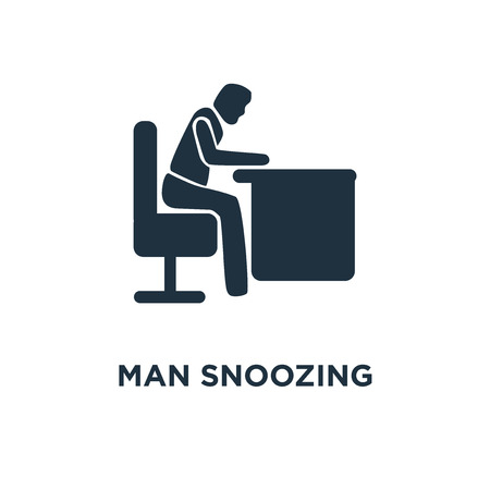 Man Snoozing icon. Black filled vector illustration. Man Snoozing symbol on white background. Can be used in web and mobile. Illustration