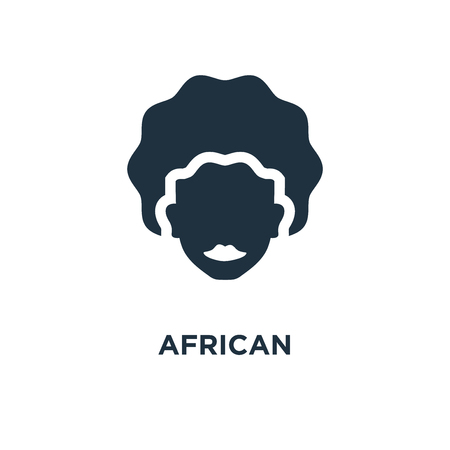 African icon. Black filled vector illustration. African symbol on white background. Can be used in web and mobile. Çizim