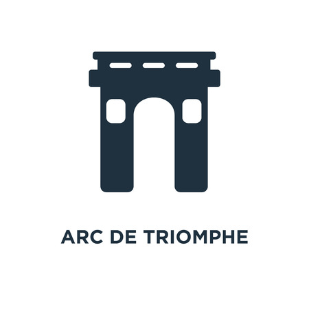 Arc de triomphe icon. Black filled vector illustration. Arc de triomphe symbol on white background. Can be used in web and mobile.