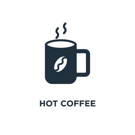 Hot Coffee icon. Black filled vector illustration. Hot Coffee symbol on white background. Can be used in web and mobile.