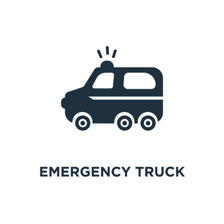 Emergency Truck icon. Black filled vector illustration. Emergency Truck symbol on white background. Can be used in web and mobile. Illustration