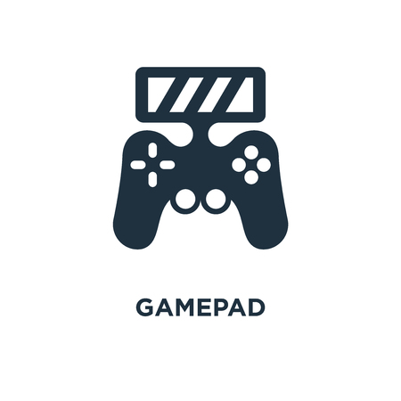 Gamepad icon. Black filled vector illustration. Gamepad symbol on white background. Can be used in web and mobile.