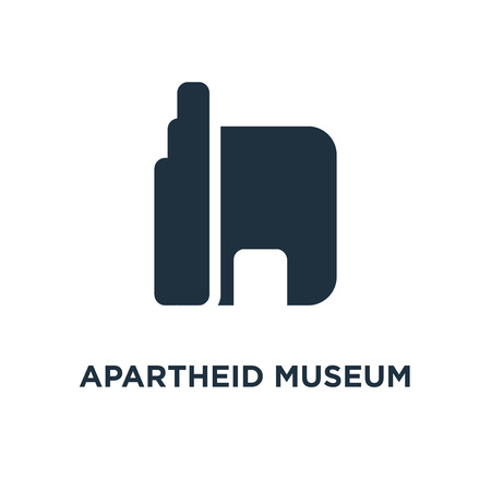 Apartheid museum icon. Black filled vector illustration. Apartheid museum symbol on white background. Can be used in web and mobile.