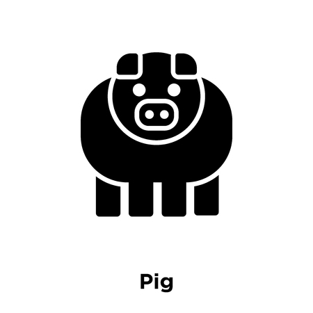 Pig icon vector isolated on white background, logo concept of Pig sign on transparent background, filled black symbol