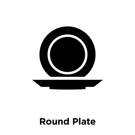 Round Plate icon vector isolated on white background, logo concept of Round Plate sign on transparent background, filled black symbol Иллюстрация