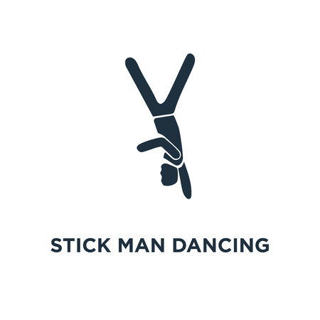 Stick Man Dancing icon. Black filled vector illustration. Stick Man Dancing symbol on white background. Can be used in web and mobile.