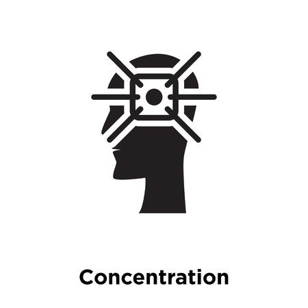 Vecteur d'icône de concentration isolé sur fond blanc, notion de logo de concentration signe sur fond transparent, rempli de symbole en noir