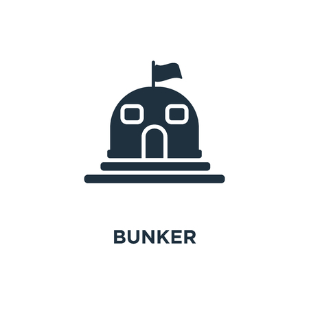 Bunker icon. Black filled vector illustration. Bunker symbol on white background. Can be used in web and mobile. Иллюстрация