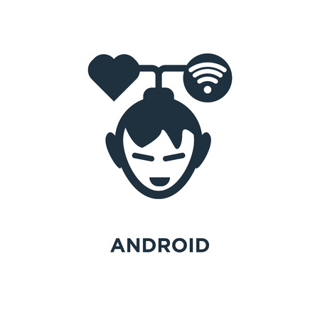 Android icon. Black filled vector illustration. Android symbol on white background. Can be used in web and mobile. Illustration
