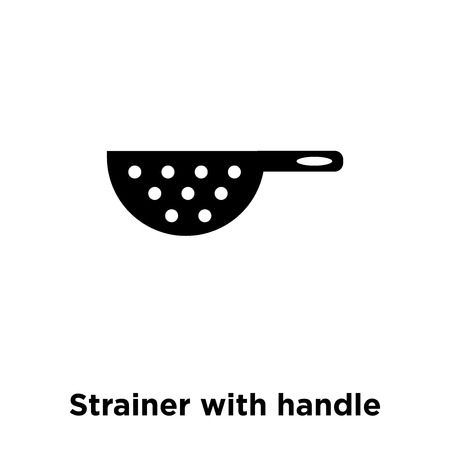 Strainer with handle icon vector isolated on white background, logo concept of Strainer with handle sign on transparent background, filled black symbol Illustration