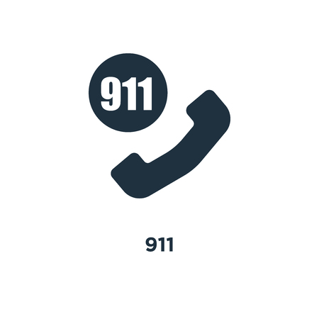 911 icon. Black filled vector illustration. 911 symbol on white background. Can be used in web and mobile.