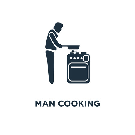 Man Cooking icon. Black filled vector illustration. Man Cooking symbol on white background. Can be used in web and mobile.