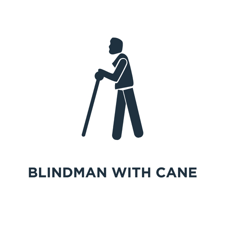 Blindman with Cane icon. Black filled vector illustration. Blindman with Cane symbol on white background. Can be used in web and mobile.