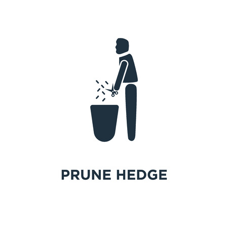 Prune Hedge icon. Black filled vector illustration. Prune Hedge symbol on white background. Can be used in web and mobile.