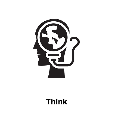 Think icon vector isolated on white background, logo concept of Think sign on transparent background, filled black symbol