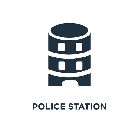 Police station icon. Black filled vector illustration. Police station symbol on white background. Can be used in web and mobile.