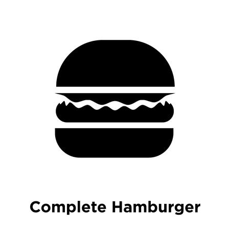 Hamburger completo icona vettoriale isolato su sfondo bianco, logo concetto del segno di Hamburger completo su sfondo trasparente, riempita simbolo nero