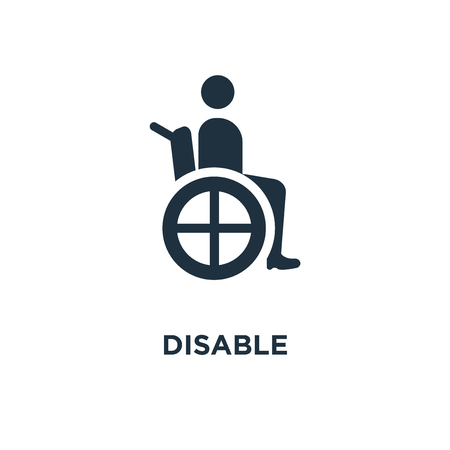Disable Sign icon. Black filled vector illustration. Disable Sign symbol on white background. Can be used in web and mobile. Illusztráció