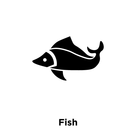 Fish icon vector isolated on white background, logo concept of Fish sign on transparent background, filled black symbol