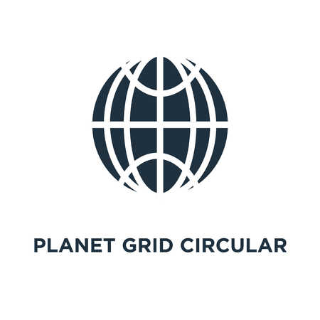 Planet grid circular symbol icon. Black filled vector illustration. Planet grid circular symbol symbol on white background. Can be used in web and mobile.