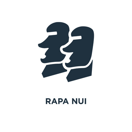 Rapa Nui icon. Black filled vector illustration. Rapa Nui symbol on white background. Can be used in web and mobile.