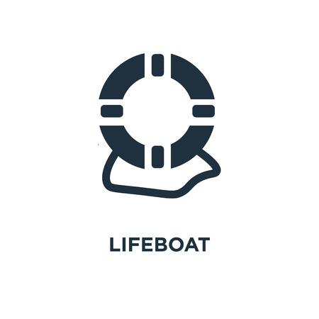 Rettungsboot-Symbol. Schwarz gefüllte Vektorillustration. Rettungsbootsymbol auf weißem Hintergrund. Kann im Web und mobil verwendet werden. Vektorgrafik