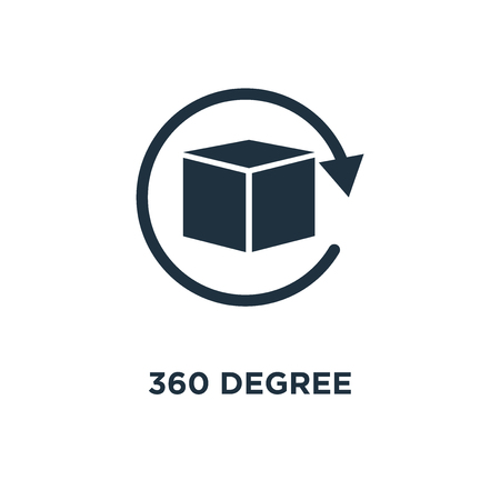 360 degree icon. Black filled vector illustration. 360 degree symbol on white background. Can be used in web and mobile.