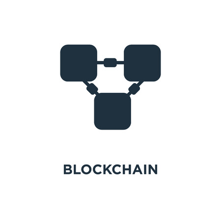 Blockchain icon. Black filled vector illustration. Blockchain symbol on white background. Can be used in web and mobile. Illustration
