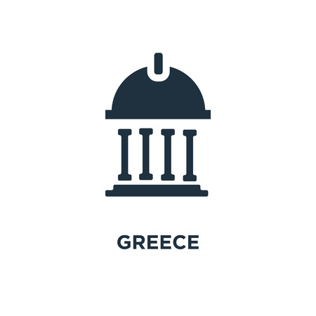 Greece icon. Black filled vector illustration. Greece symbol on white background. Can be used in web and mobile. Illusztráció
