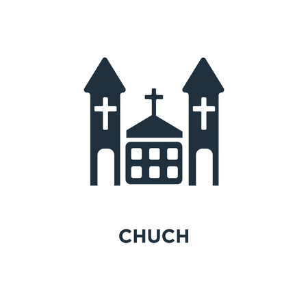 Chuch icon. Black filled vector illustration. Chuch symbol on white background. Can be used in web and mobile. Иллюстрация