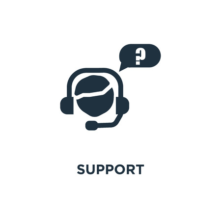 Support icon. Black filled vector illustration. Support symbol on white background. Can be used in web and mobile.
