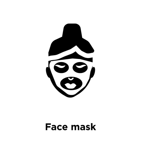 Face mask icon vector isolated on white background, logo concept of Face mask sign on transparent background, filled black symbol Stock Vector - 111793029