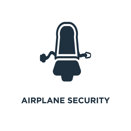 Airplane Security Belt icon. Black filled vector illustration. Airplane Security Belt symbol on white background. Can be used in web and mobile.
