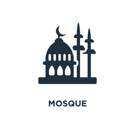 Mosque icon. Black filled vector illustration. Mosque symbol on white background. Can be used in web and mobile.