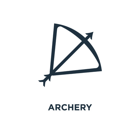 Archery icon. Black filled vector illustration. Archery symbol on white background. Can be used in web and mobile. Illustration