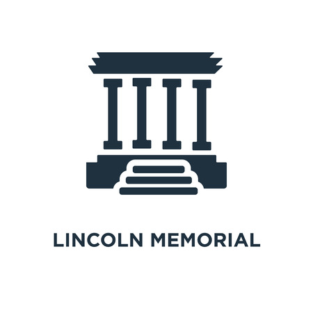 Lincoln memorial icon. Black filled vector illustration. Lincoln memorial symbol on white background. Can be used in web and mobile.