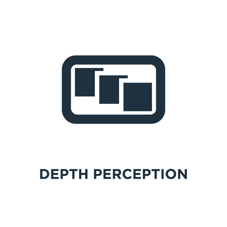 Depth perception icon. Black filled vector illustration. Depth perception symbol on white background. Can be used in web and mobile.  イラスト・ベクター素材
