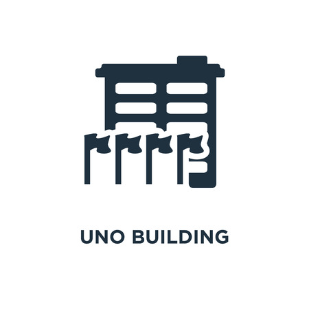 UNO Building icon. Black filled vector illustration. UNO Building symbol on white background. Can be used in web and mobile.