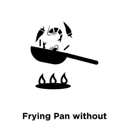 Poêle sans couvercle icône vecteur isolé sur fond blanc, notion de logo de poêle sans couvercle signe sur fond transparent, rempli de symbole en noir