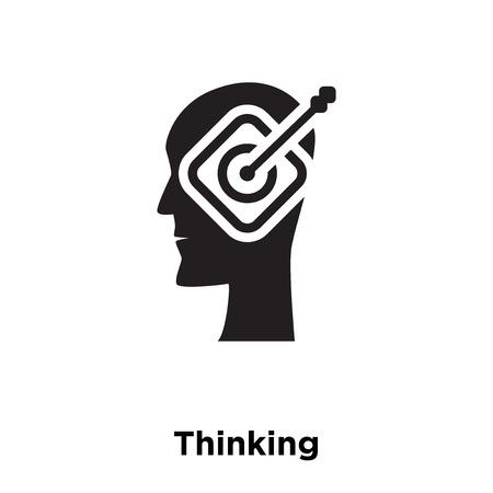 Thinking icon vector isolated on white background, logo concept of Thinking sign on transparent background, filled black symbol Illustration