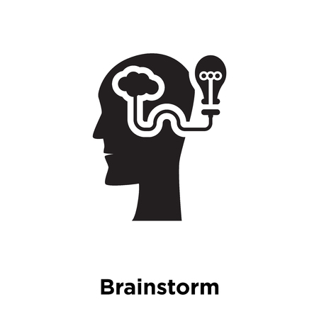 Brainstorm icon vector isolated on white background, logo concept of Brainstorm sign on transparent background, filled black symbol
