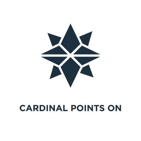 Cardinal points on winds star symbol icon. Black filled vector illustration. Cardinal points on winds star symbol symbol on white background. Can be used in web and mobile. Banque d'images - 112278924