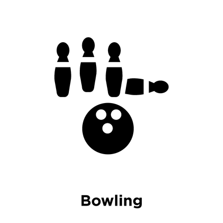 Bowling icon vector isolated on white background, logo concept of Bowling sign on transparent background, filled black symbol