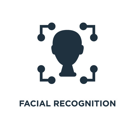 Facial recognition icon. Black filled vector illustration. Facial recognition symbol on white background. Can be used in web and mobile.