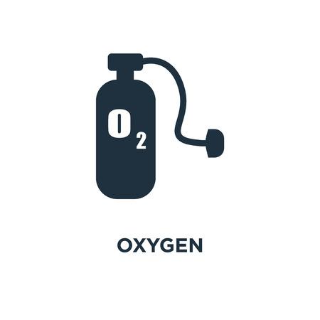Ikona tlenu. Ilustracja wektorowa czarne wypełnione. Symbol tlenu na białym tle. Może być używany w sieci i na urządzeniach mobilnych. Ilustracje wektorowe
