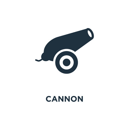 Cannon icon. Black filled vector illustration. Cannon symbol on white background. Can be used in web and mobile.  イラスト・ベクター素材